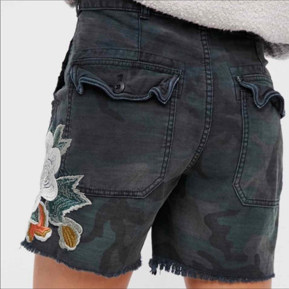Free People Camo Embroidered Scout Shorts 2
